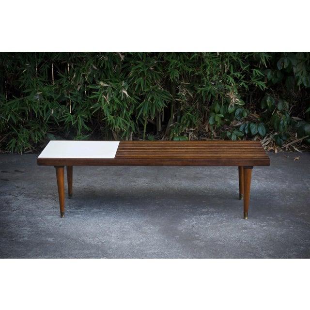 Mid-Century Slat Bench Coffee Table - Image 2 of 4