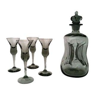 Mid-Century Danish Black Glass Decanter Set