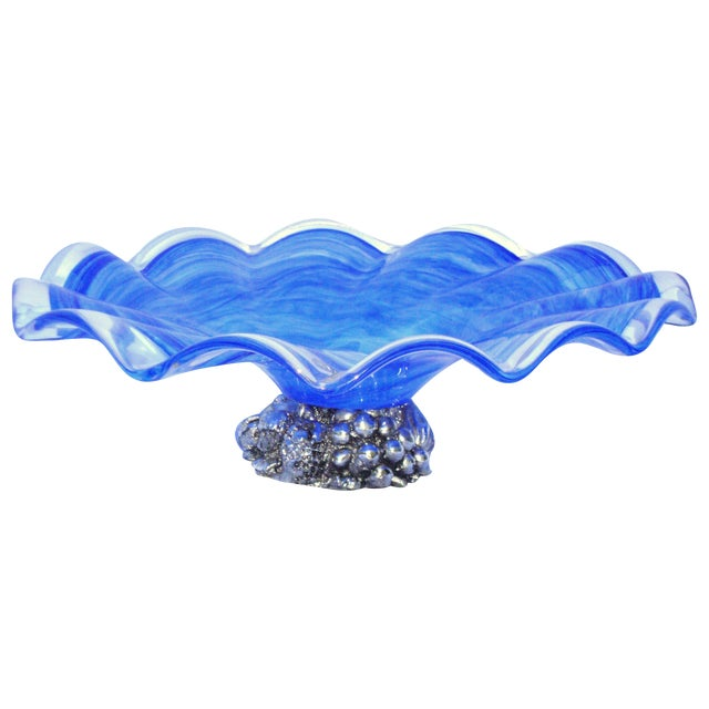 Deco Gothic Murano Blue Silver Wavy Glass Bowl - Image 1 of 10