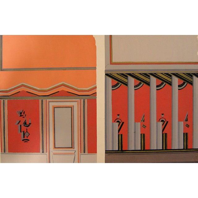 Deco interior pochoir in orange 1929 chairish for Pochoir deco