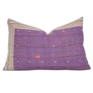Purple Bengal Kantha Lumbar Pillow