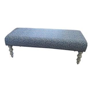 Vintage Blue Upholstered Bench