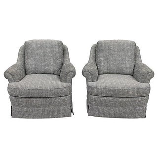1970's Swivel Rocking Club Chairs - A Pair