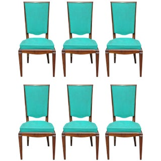 French Art Deco Walnut Dining Chairs - Set of 6