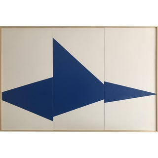 """""""Blue On Point Triptych - JET0461"""" Original Acrylic Painting by Jason Trotter"""