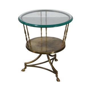Italian Brass Hoof Foot Regency Style Side Table
