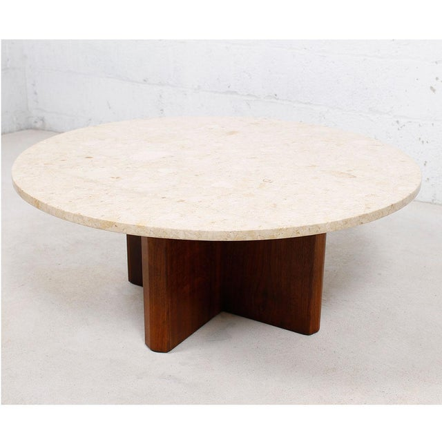 "Travertine Marble Top Coffee Table with ""X"" Base - Image 2 of 9"