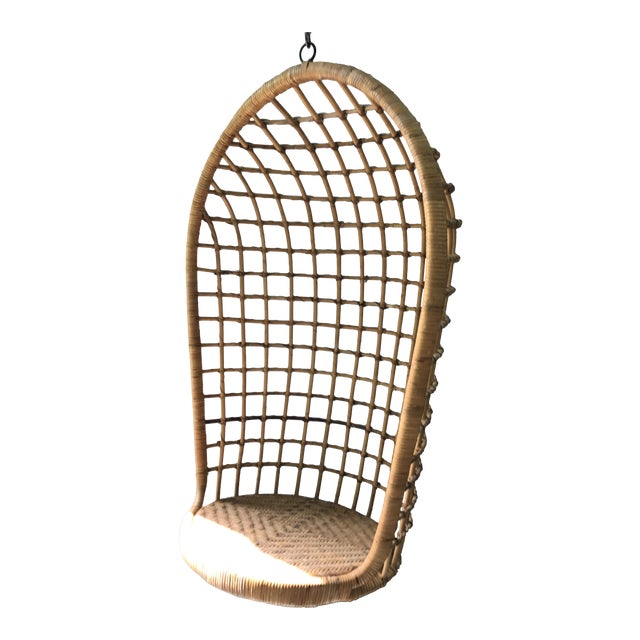 Vintage Hanging Rattan Egg Chair - Image 1 of 7