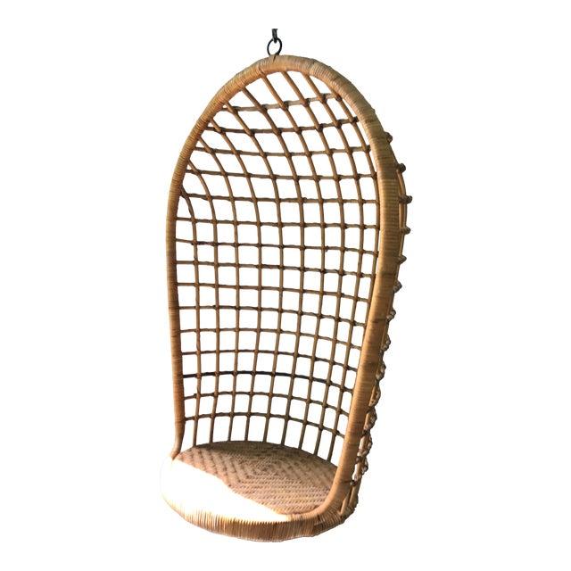 Image of Vintage Hanging Rattan Egg Chair