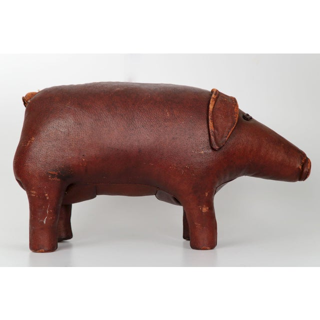 1960s Vintage Stitched Leather Pig Footstool by Dimitri Omersa for Abercrombie & Fitch - Image 3 of 11