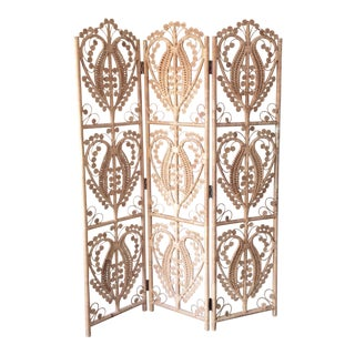 Vintage Wicker Peacock Room Divider 3 Panel Screen