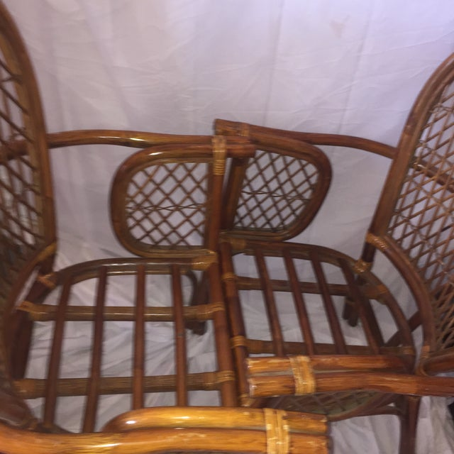 Chinoiserie Chinese Chippendale Rattan Chairs - a Pair - Image 9 of 11