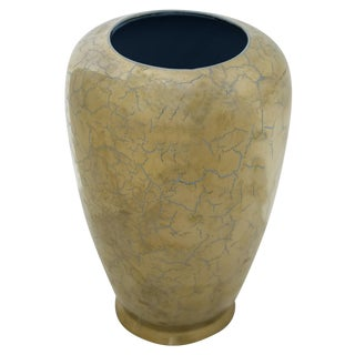 Gold and Turquoise Crackle Urn Vase