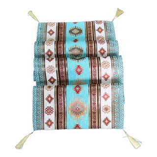 Turkish Red, Gold & Turquoise Kilim Table Runner