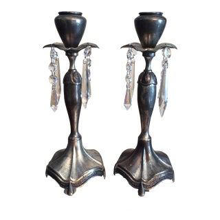 Oxidized Silver Metal & Crystal Candlesticks- A Pair