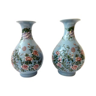 Powder Blue Famille Rose Vases- A Pair