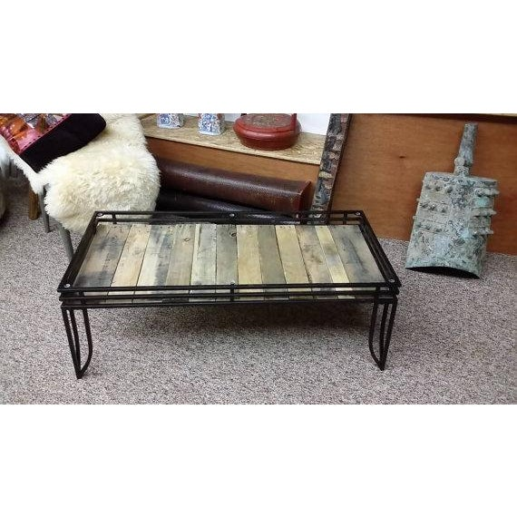 Rustic glass top coffee table with wood chairish for Rustic glass coffee table