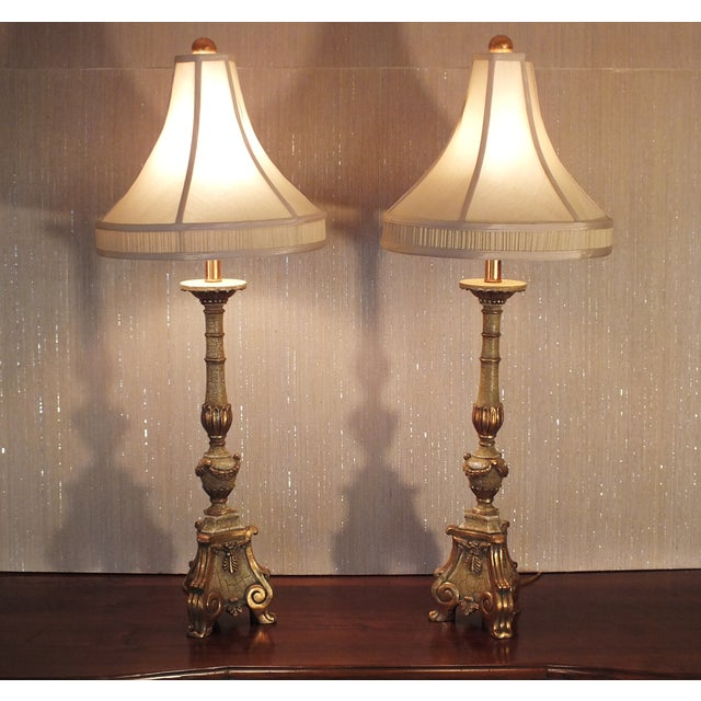 Italian Florentine Candlestick Lamps - a Pair - Image 9 of 10