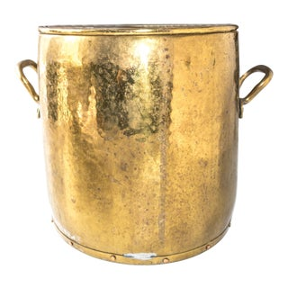 Antique Brass and Copper Bucket Jardiniere Planter XL