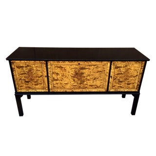 Oriental Mid-Century Modern Birds Eye Maple Buffet