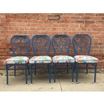 Image of Vintage 1950s Blue Metal Chairs - Set of 4