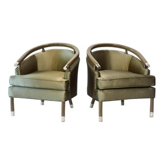 Pair of Romweber Limed Oak Club Chairs