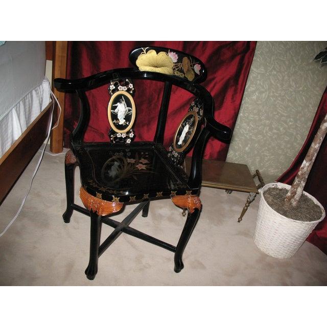 Image of Antique Asian Black Laquer Lotus Chair