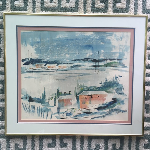 Mid Century Modern Alfred Birdsey Abstract Modernist Ocean Seascape Watercolor Painting Signed - Image 2 of 11