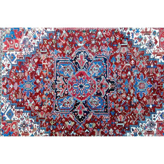 """Antique Persian Heriz Rug - 8' 10"""" x 11' 2"""" - Image 5 of 9"""