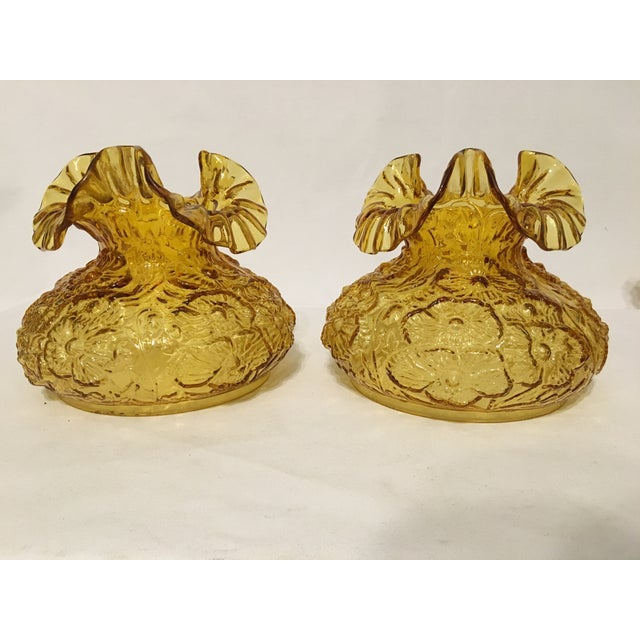 Fenton Amber Poppy Glass Lamp Shades- A Pair - Image 4 of 8