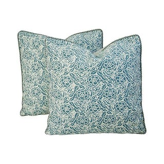 Italian Fortuny Blue & Ivory Fiori Pillows - Pair