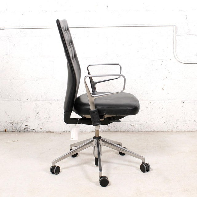 Image of Vitra Italian Black Leather Swivel Desk Chair