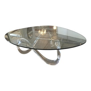 Modernist Sculptural Lucite Base and Glass-Top Coffee Table