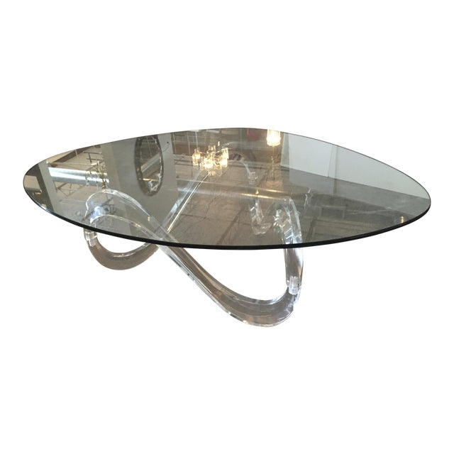 Image of Modernist Sculptural Lucite Base and Glass-Top Coffee Table