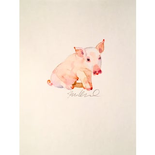 Pink Piggy Watercolor Painting