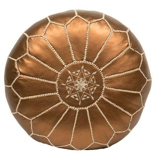 Embroidered Faux Bronze Metallic Leather Pouf (Stuffed)