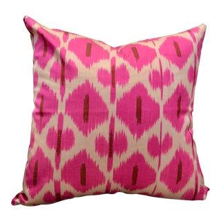 Magenta Silk Ikat Throw Pillow