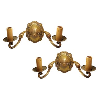 Large Art Nouveau Bronze Double Arm Sconces - A Pair