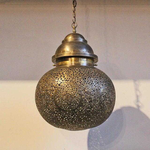 Moroccan Carved Brass Globe Pendant Light - Image 2 of 4 - Moroccan Carved Brass Globe Pendant Light Chairish
