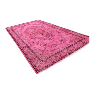 """Mid-20th C. Vintage Turkish Pink Over Dyed Hand Knotted Rug - 6'2"""" x 10'8"""""""