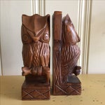 Image of Vintage Rustic Carved Owl Bookends - A Pair
