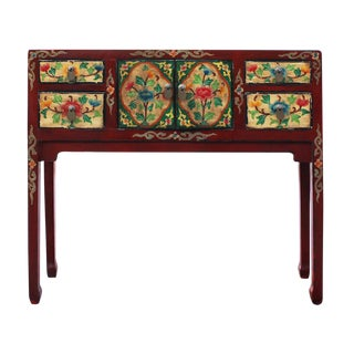Chinese Red Floral Narrow Foyer Table