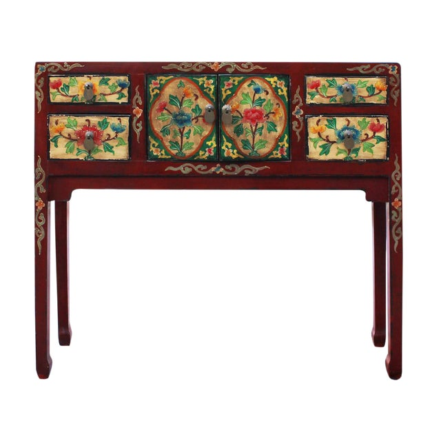 Foyer Table Red : Chinese red floral narrow foyer table chairish