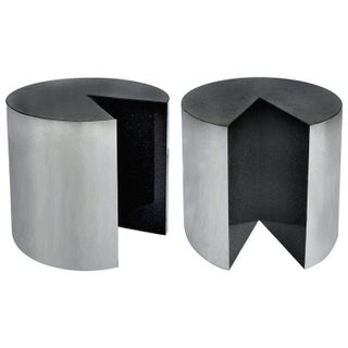 Pace Collection Stainless Steel and Granite Side Tables, Pair