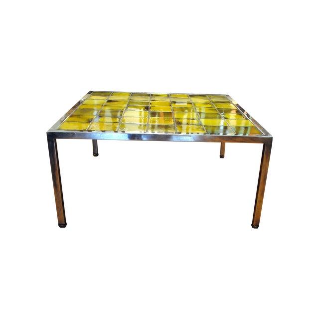 Tile and Chrome Danish Modern Coffee Table - Image 1 of 8