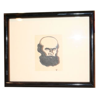 Black And White Print of Bearded Man