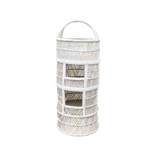 Vintage White Wicker Shelf with Three Cubbies