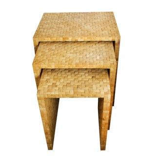 "Coconut Shell Tiled ""Bamboo"" Nesting Tables - Set of 3"