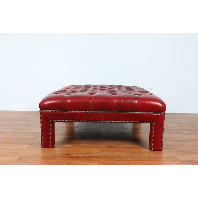 Bernhardt Interiors Red Leather Ottoman - Image 9 of 9
