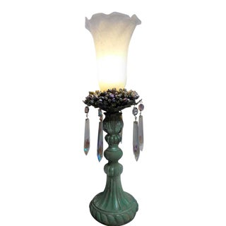 Tulip Shade Lamp With Aurora Borealis Crystal Accents